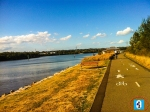 Bike and walk lanes along Parramatta River bank.