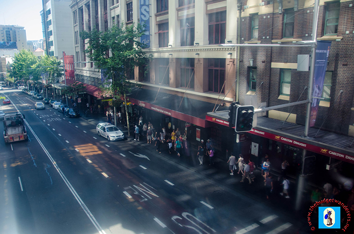 View of George Street inside Sydney Monorail