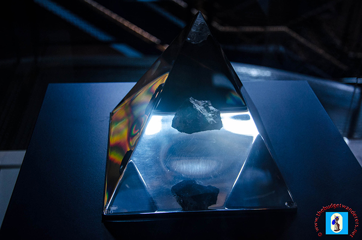 A precious stone from outer space displayed in the museum.