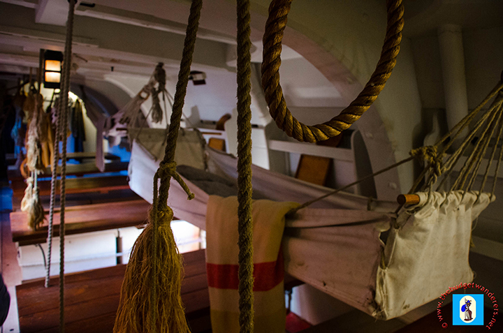 A hammock for one of the Endeavour's sailors.