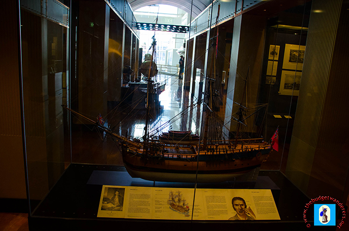 Miniature replica of Capatin James Cook's Endeavour located inside the museum.
