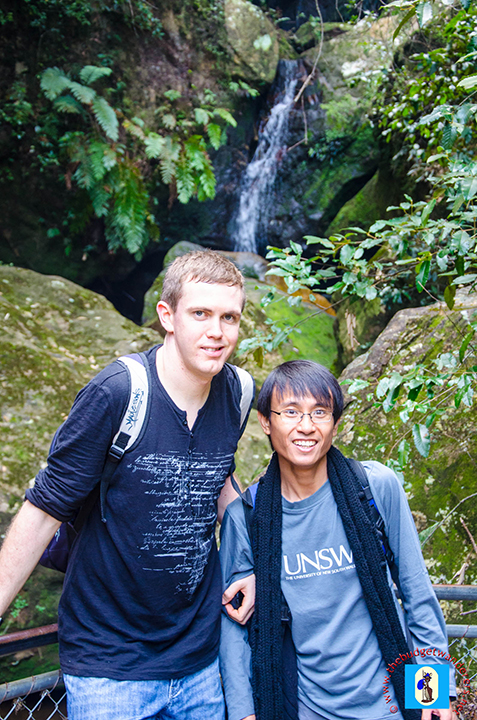 Sean and Michael posing under Katoomba Falls Creek.