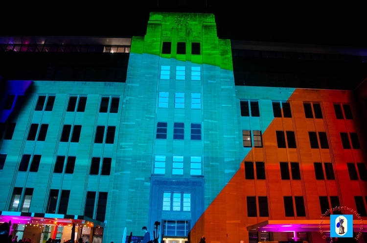 Facade of the Museum of Contemporary Arts is once again a backdrop for a light display.