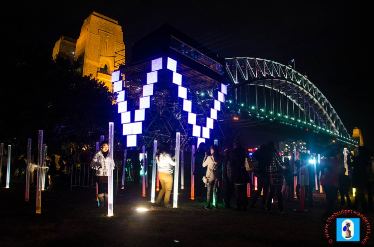 A view of Sydney Harbour Bridge during the Sydney Vivid Lights Festival.
