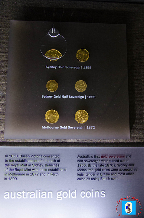 Australian coins on display.