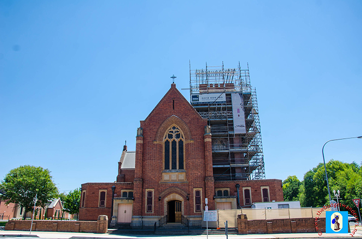 Front view of the Cathedral of St Michael and St John, which currently goes on renovation and restoration.