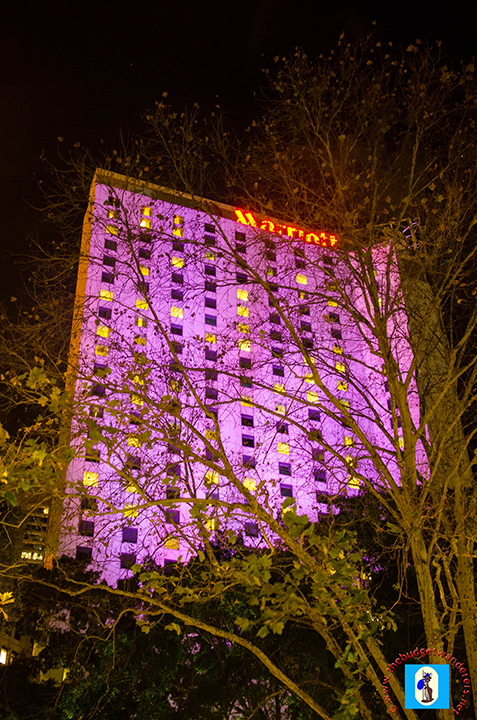 Marriot Hotel is lit up with spectacular colour.